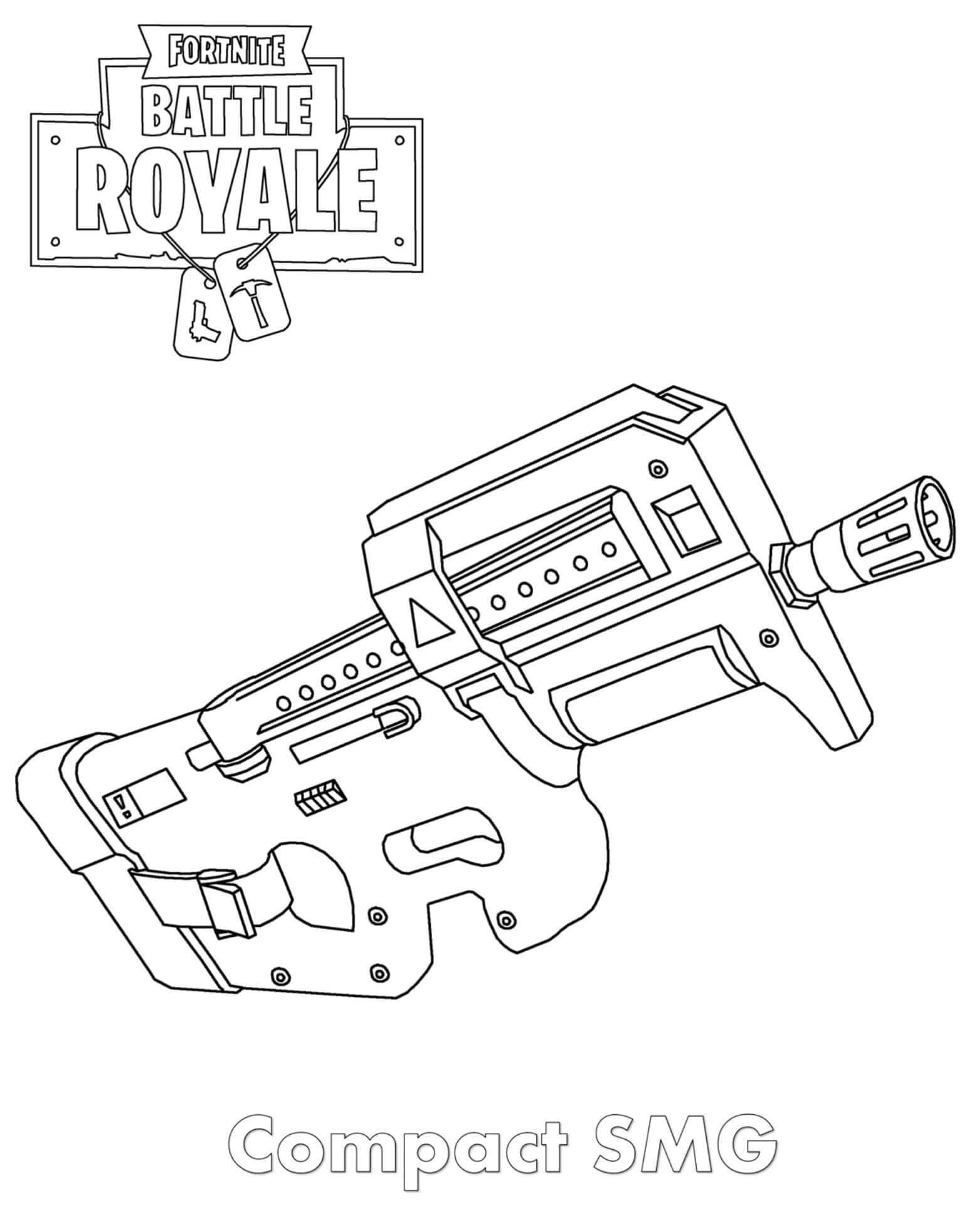 Free Easy Fortnite Skin Coloring Pages SMG Drawings printable