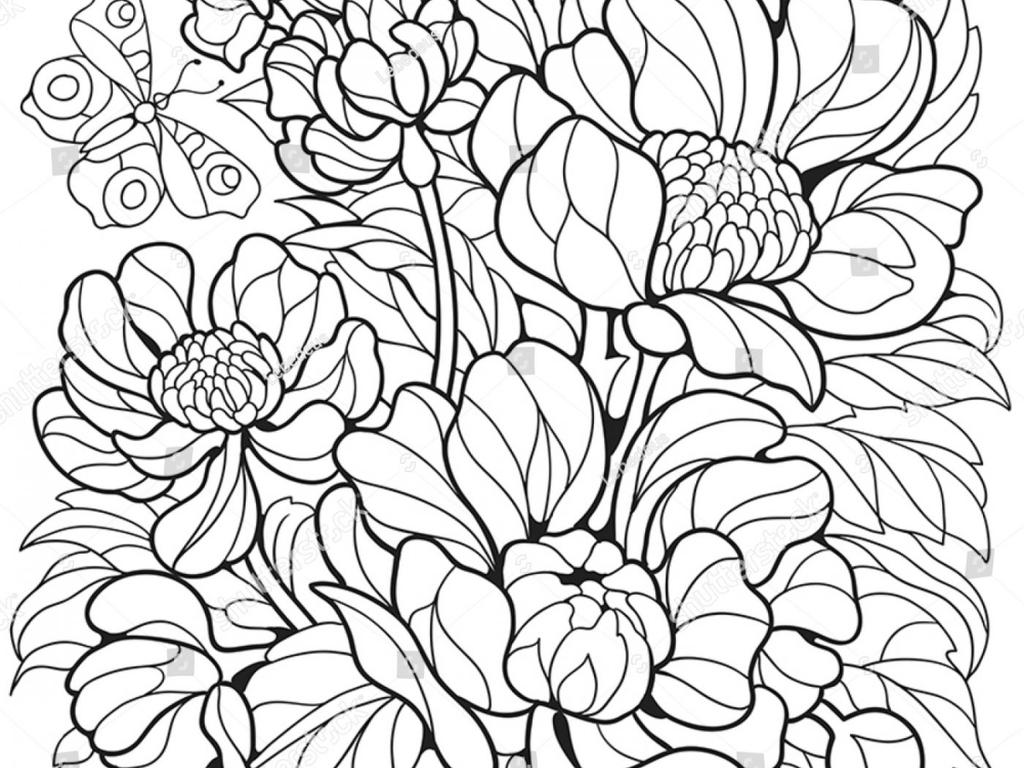 Floral Coloring Pages Spring With Butterfly Flower - Free ...