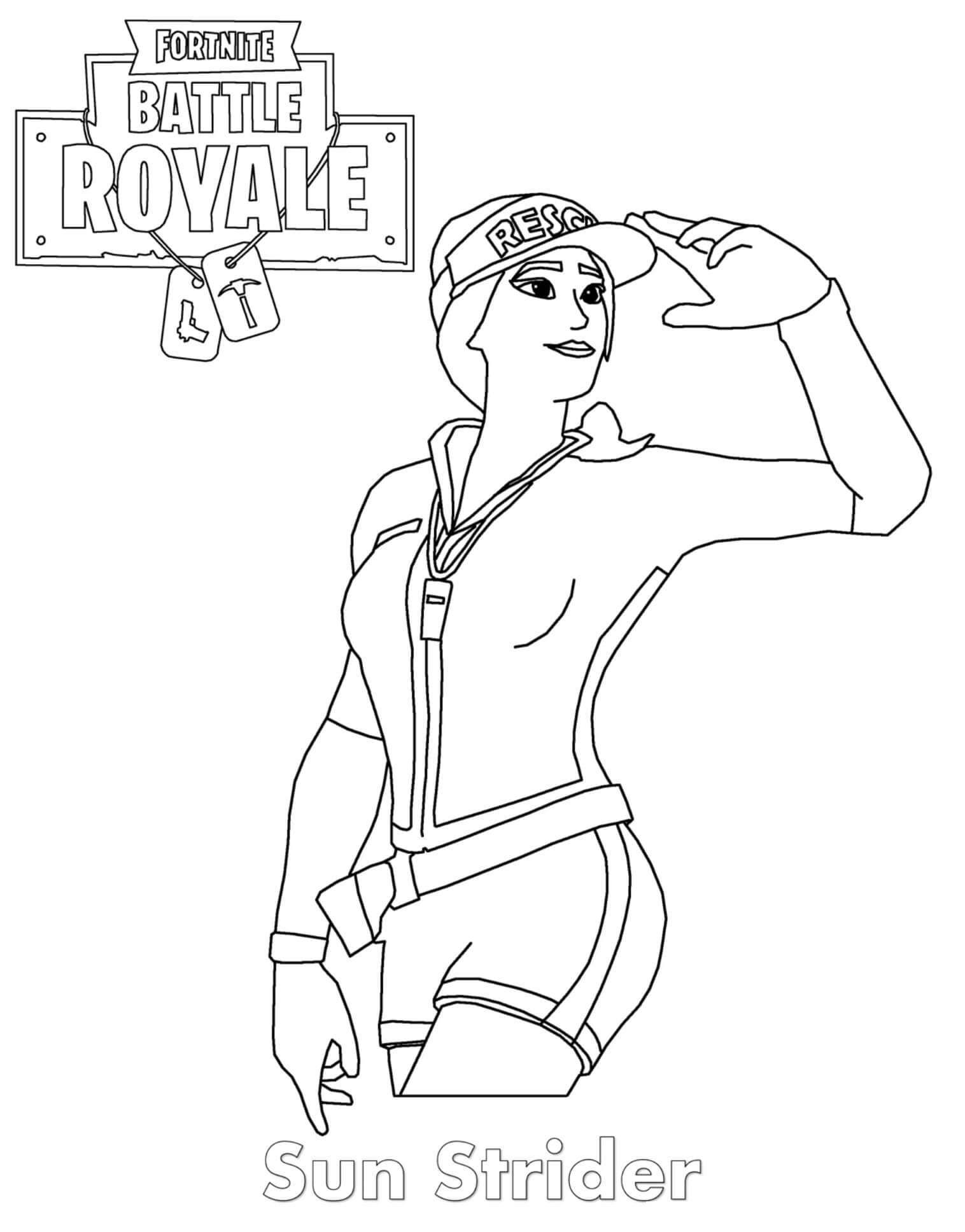 Free Fortnite Skin Coloring Pages Sun Strider printable