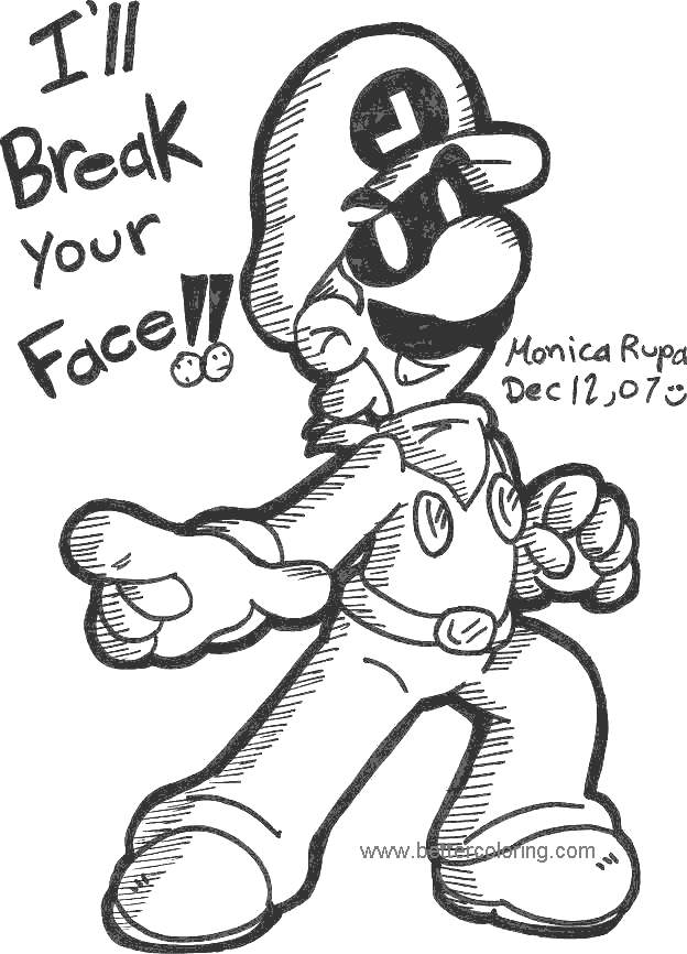 Free Luigi Coloring Pages for Toddlers