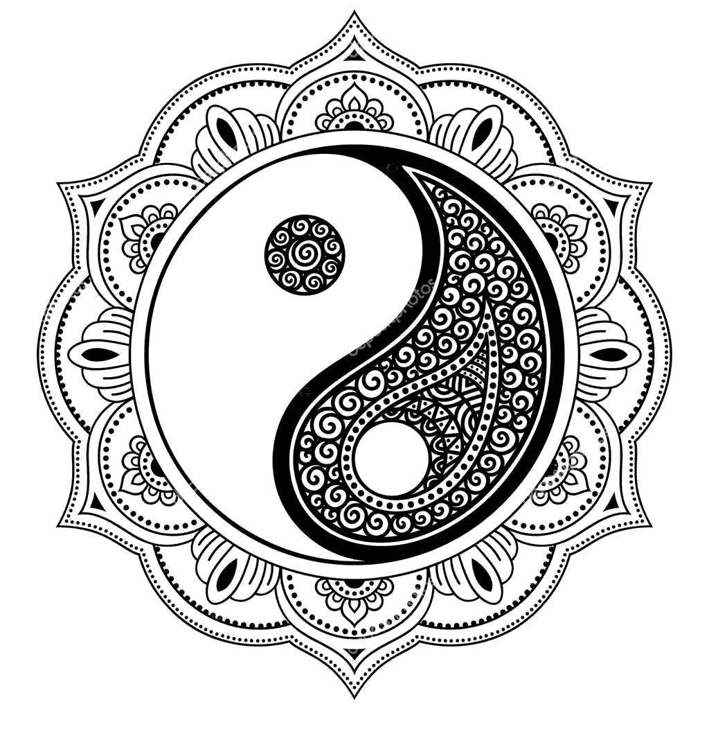 Henna Coloring Pages Tatoo Mandala Yin - Free Printable ...