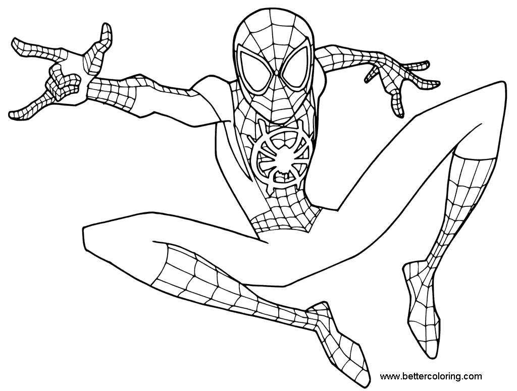 Miles Morales Coloring Pages Young Spider Man - Free ...