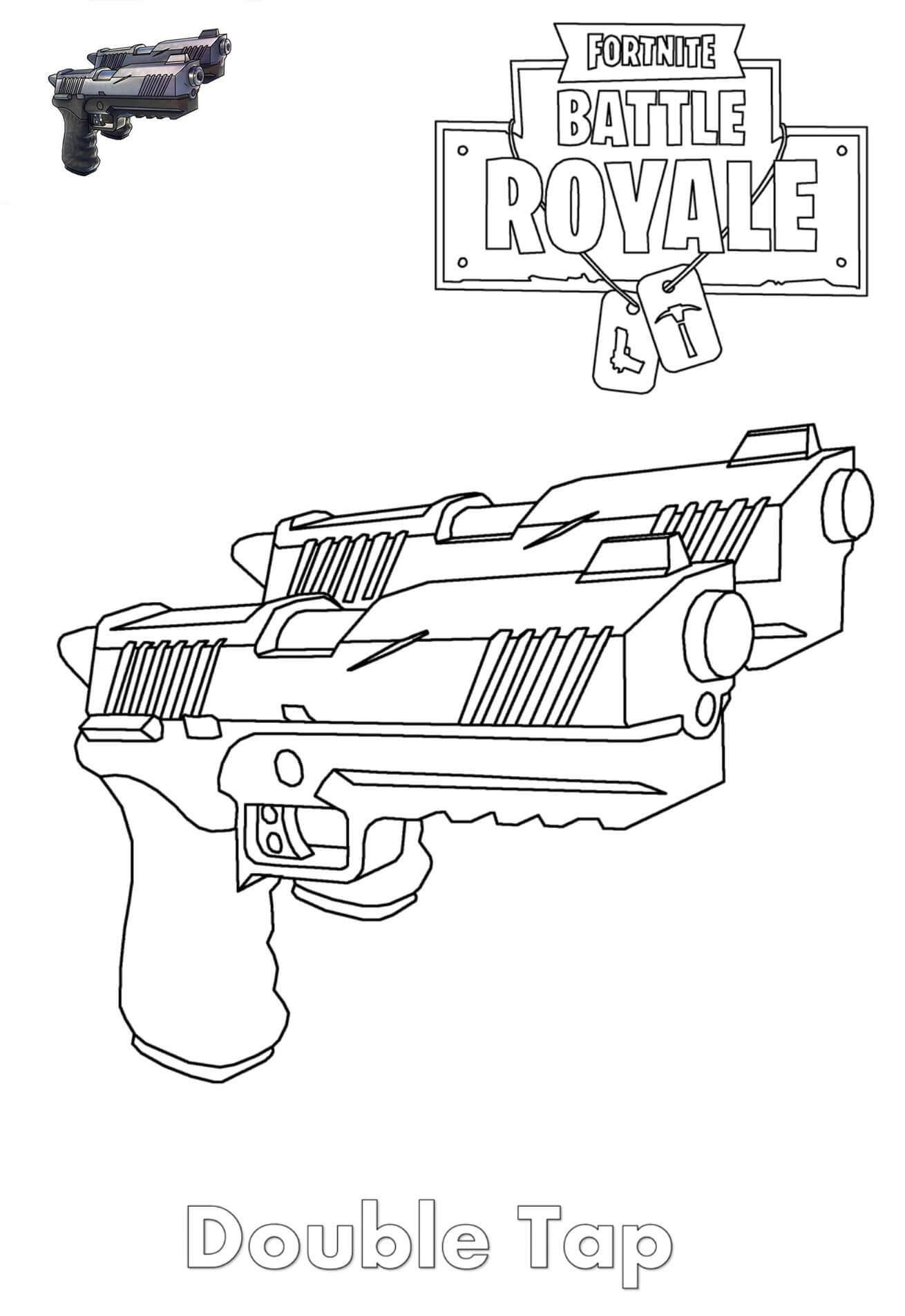 Free Simple Fortnite Skin Coloring Pages Double for Kids printable