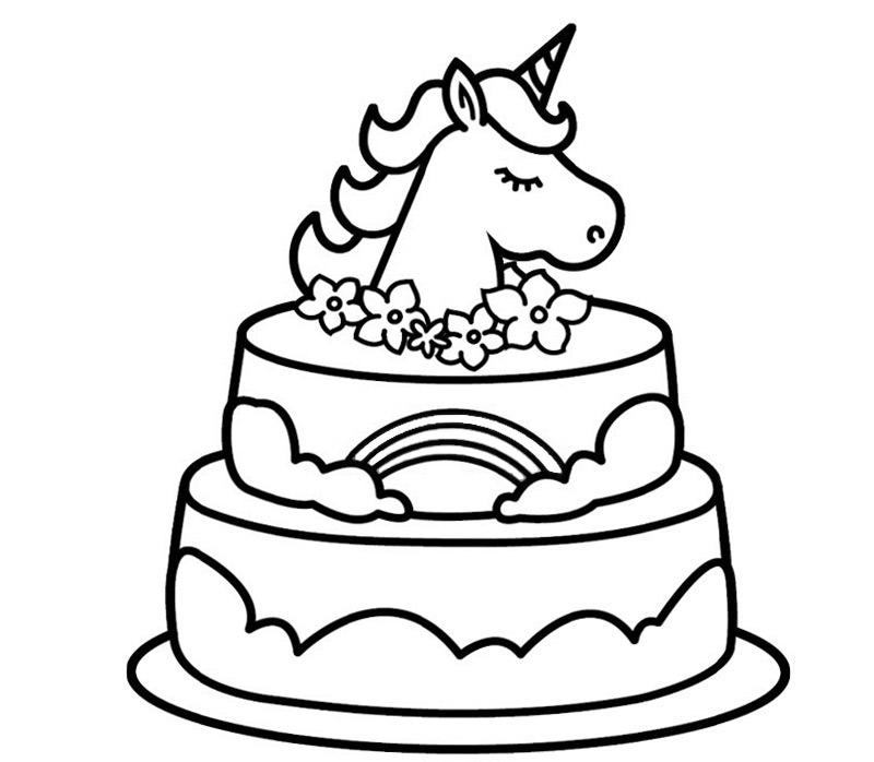 Free Unicorn Cake Coloring Pages Activity printable