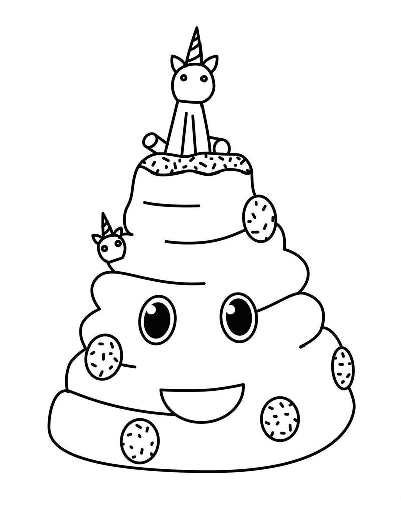 Free Unicorn Cake Coloring Pages Birthday Coloring Book printable