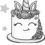 Smiling Unicorn Cake Coloring Pages - Free Printable ...