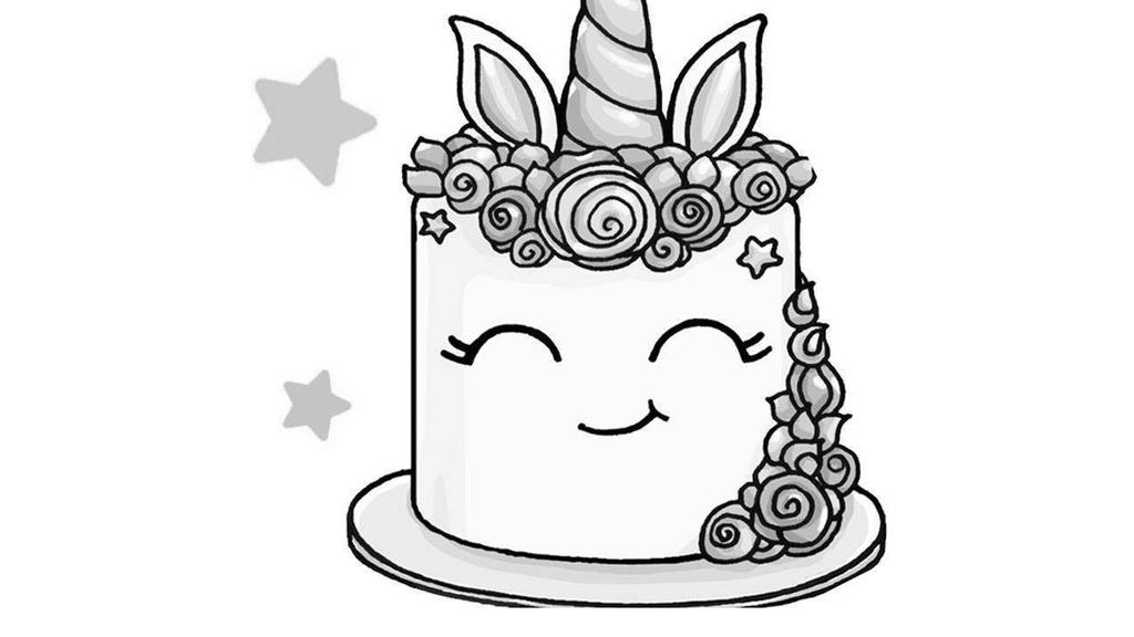 Unicorn Cake Coloring Pages Black and White - Free ...