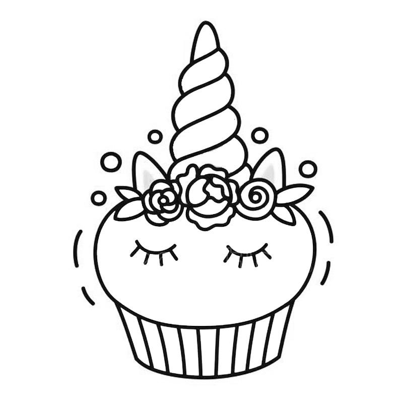 Unicorn Cake Coloring Pages Cupcake Outline - Free ...