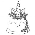 Unicorn Cake Coloring Pages Birthday Coloring Book - Free ...