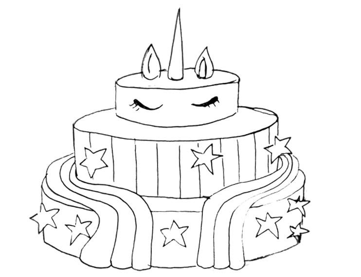 Free Unicorn Cake Coloring Pages For Boys printable