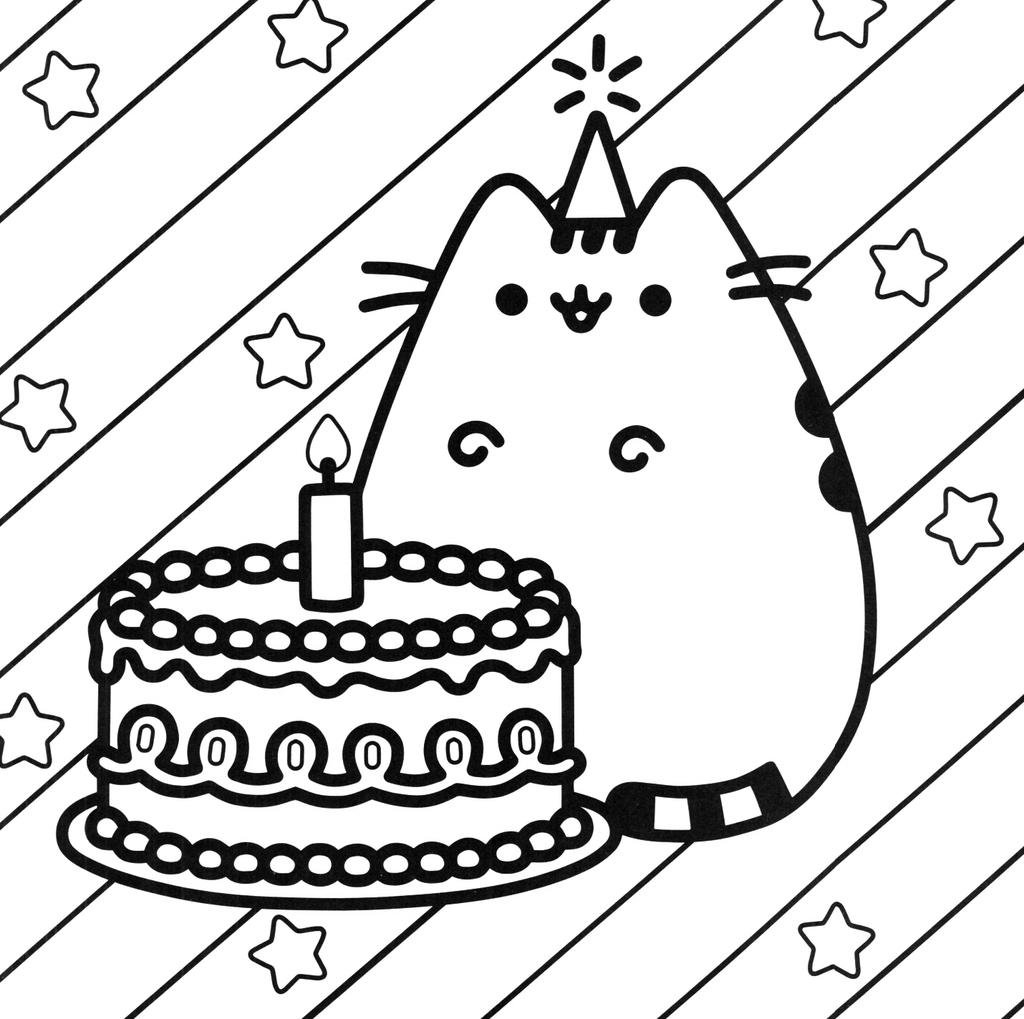 Free Unicorn Cake Coloring Pages Pusheen for Preschool printable