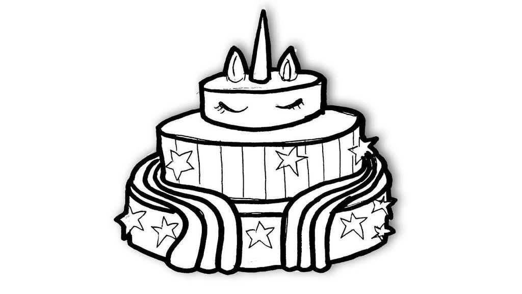 Unicorn Cake Coloring Pages for Kids - Free Printable ...