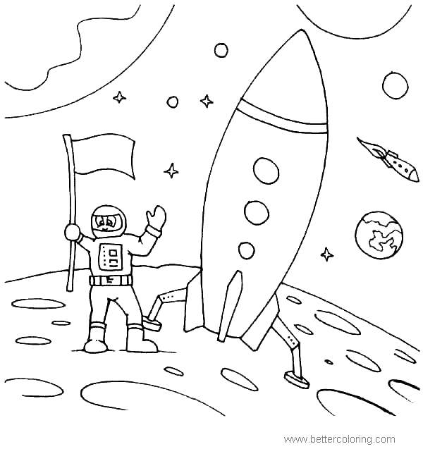 Astronaut Coloring Pages Moon for Kids - Free Printable ...
