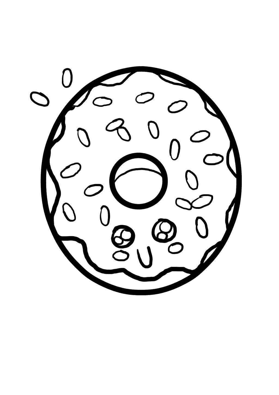 Kawaii Food Coloring Pages Hand Drawing Donuts Free Printable