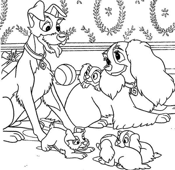 Lady And The Tramp Coloring Pages Family Time - Free Printable ...