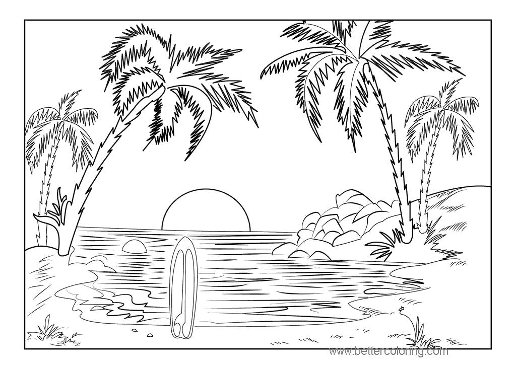 tropical sunset coloring pages - photo#7