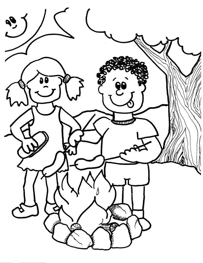 Free Camping Coloring Pages BBQ Under The Tree printable