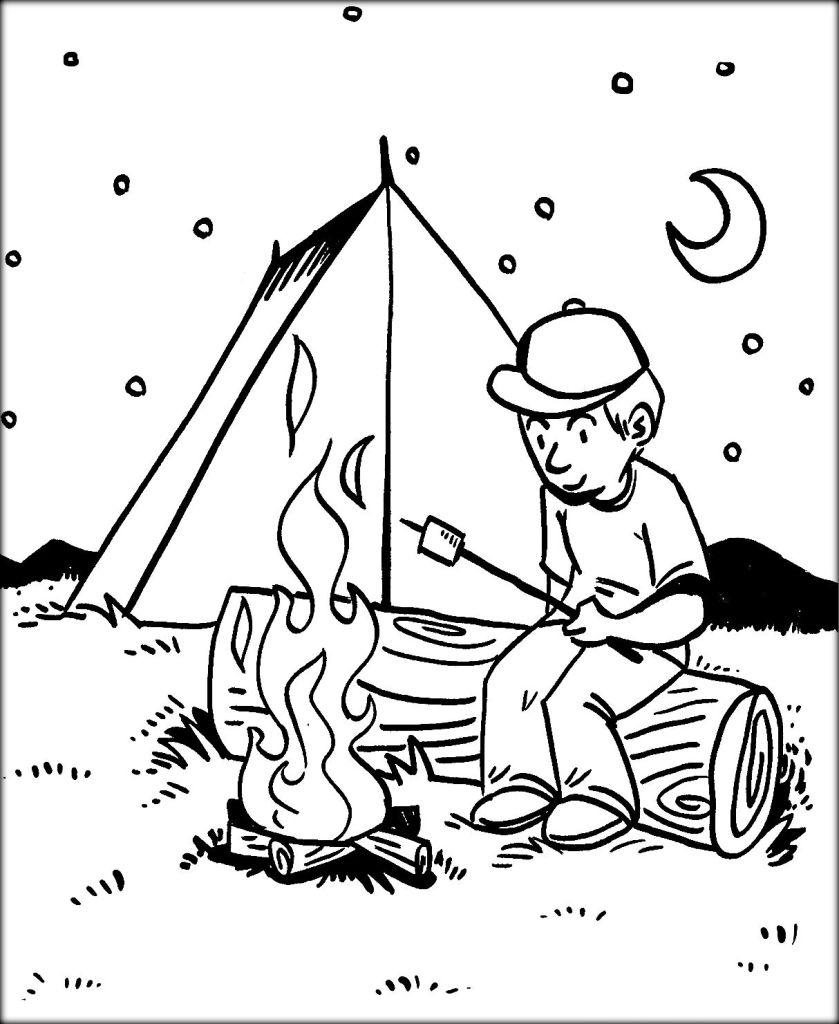 Free Camping Coloring Pages BBQ in the Night printable