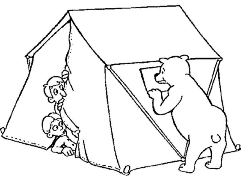 Free Camping Coloring Pages Bear Out of Tent printable