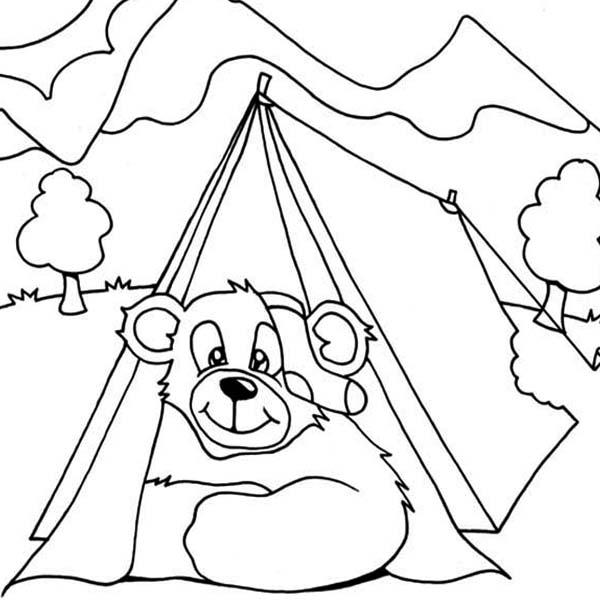 Free Camping Coloring Pages Bear in Tent printable