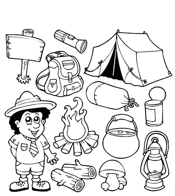 Free Camping Coloring Pages Boy and Camping Things printable