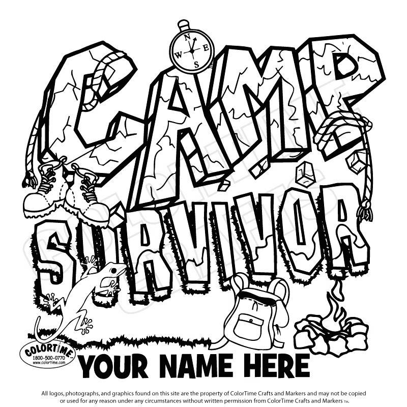 Free Camping Coloring Pages Camp Survivor printable
