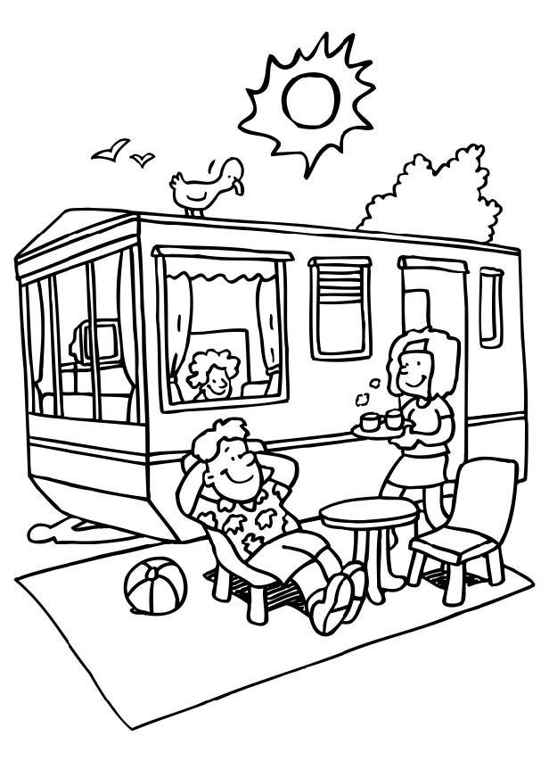 Free Camping Coloring Pages Coffee Time printable