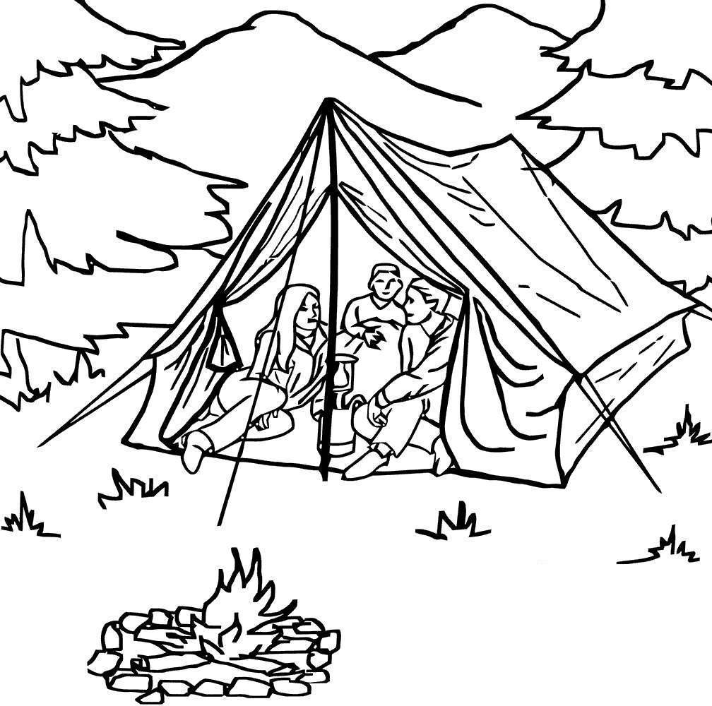 Free Camping Coloring Pages Family in Tent printable