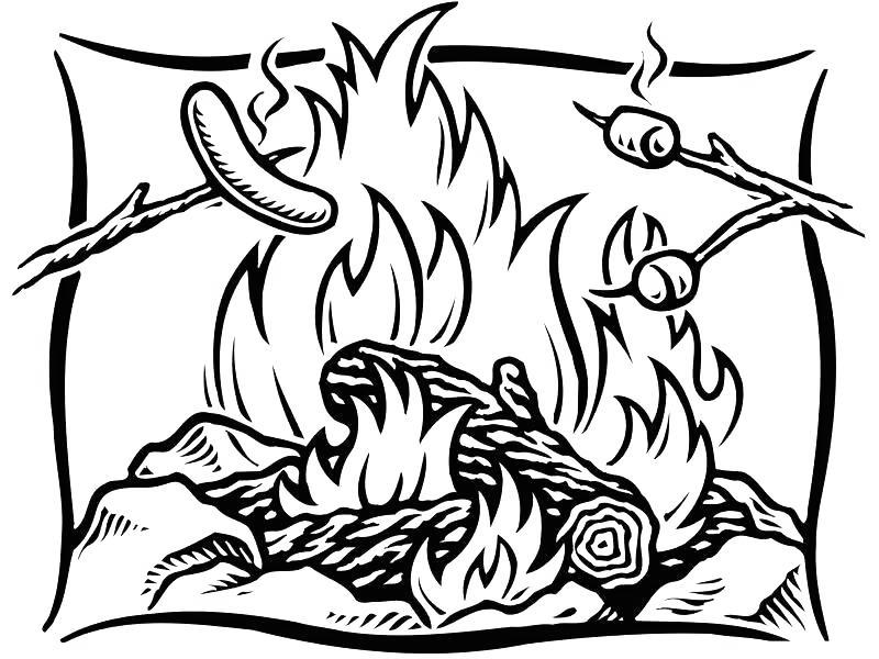 Free Camping Coloring Pages Ham on the Fire printable