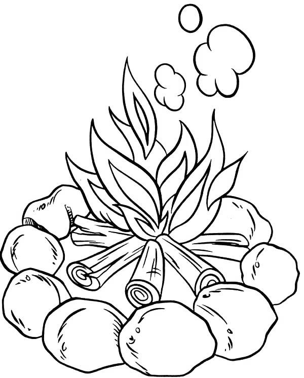 Free Camping Coloring Pages Make Fire printable
