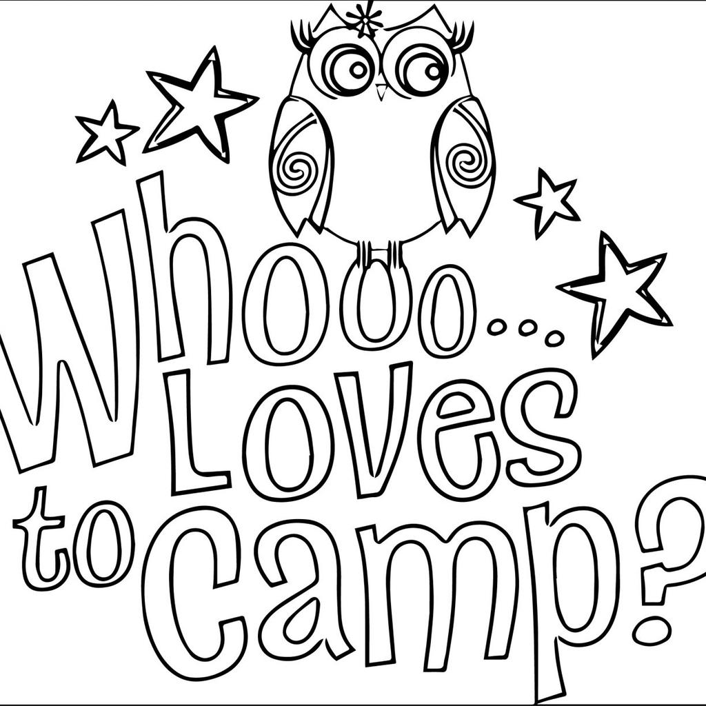 Free Camping Coloring Pages Owl Lineart printable