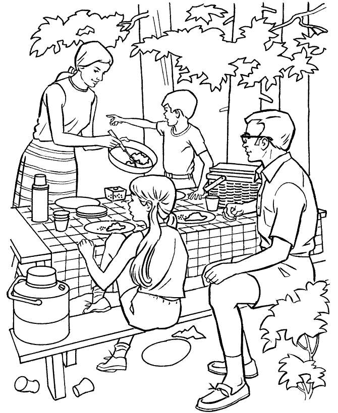 Free Camping Coloring Pages Picnic Hand Drawing printable