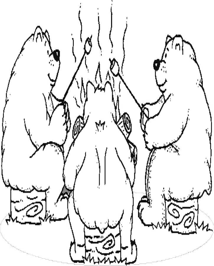 Free Camping Coloring Pages Three Bears printable