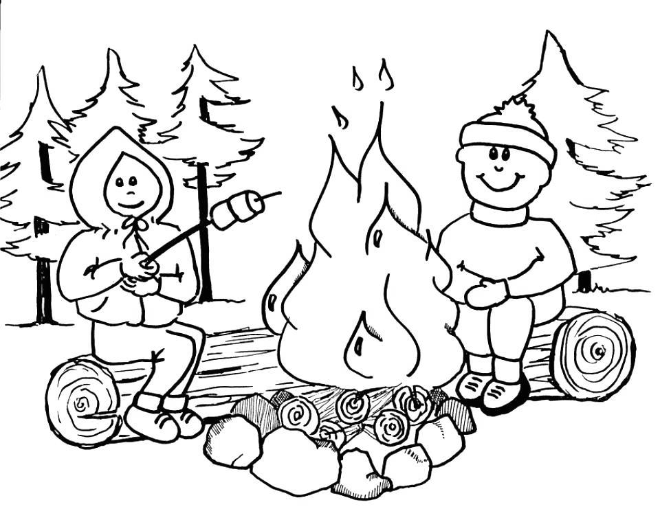 Free Camping Coloring Pages in Winter printable