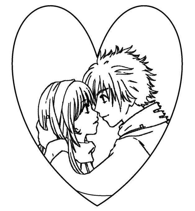 Free Emo Coloring Pages Cute Love printable