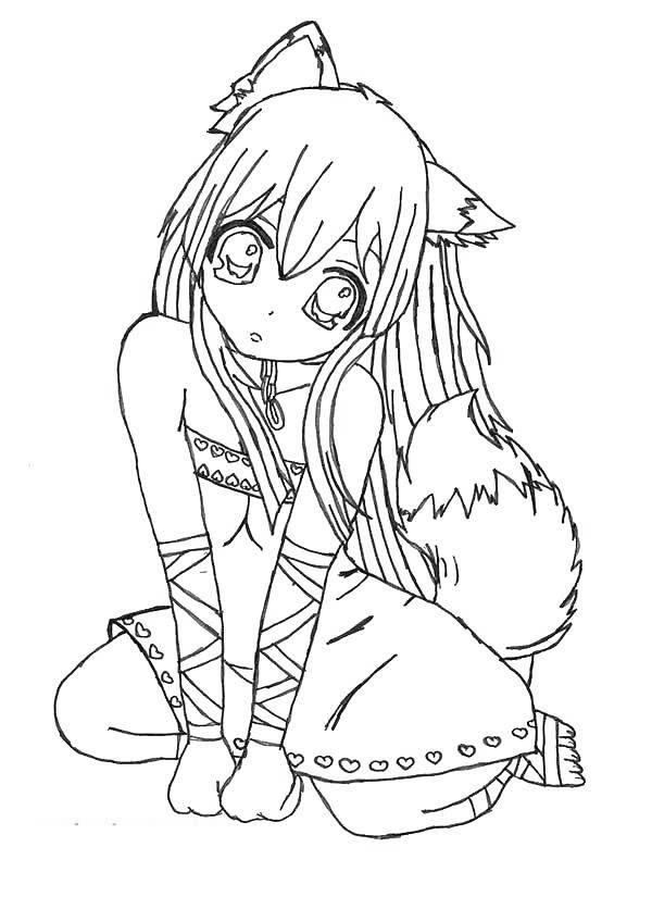 Free Emo Coloring Pages Wolf Girl printable