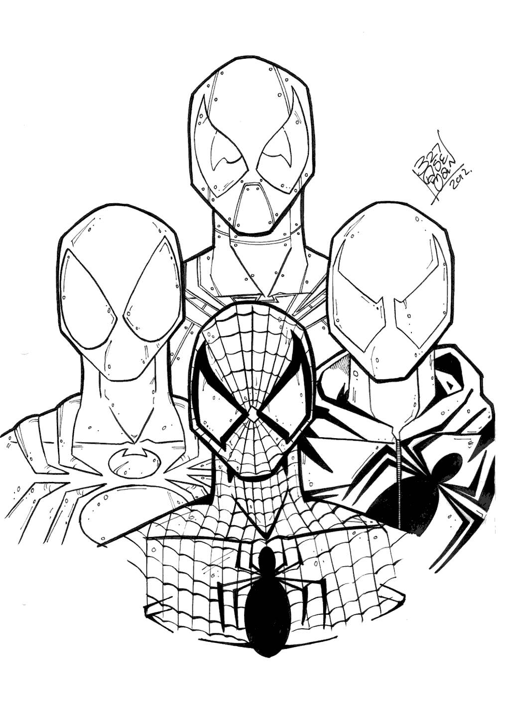 Free Iron Spider Coloring Pages Four Spidermen printable