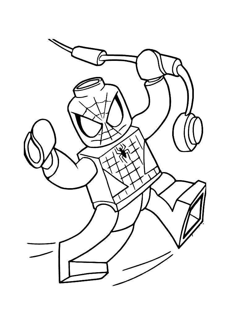 Free Iron Spider Coloring Pages LEGO Line Drawing printable