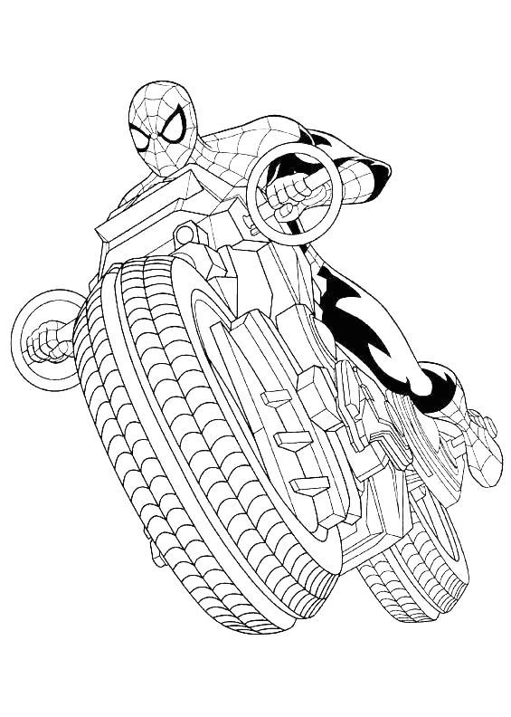 Iron Spider Coloring Pages Riding Motorcyle - Free ...