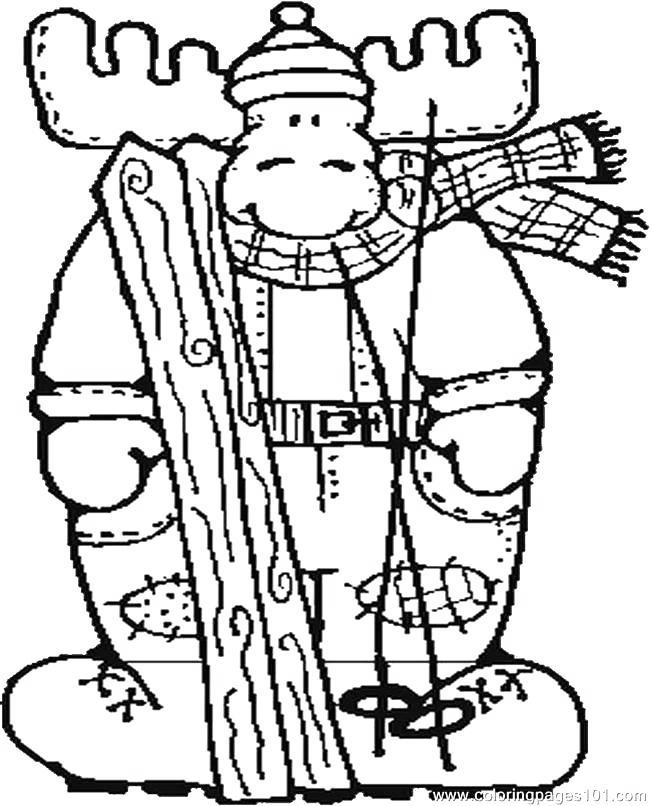 Free Moose Coloring Pages Moose Skiing printable