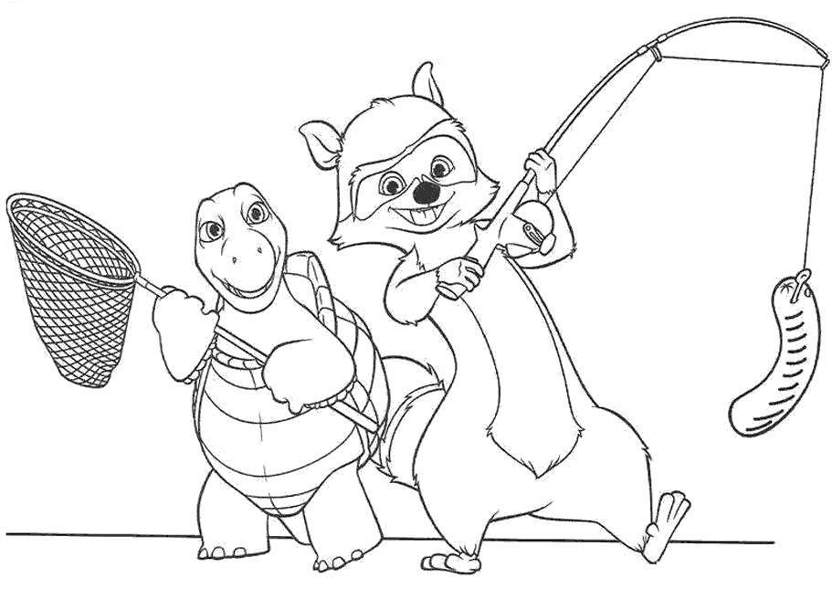 Free Over The Hedge Coloring Pages Fishing for Adults printable