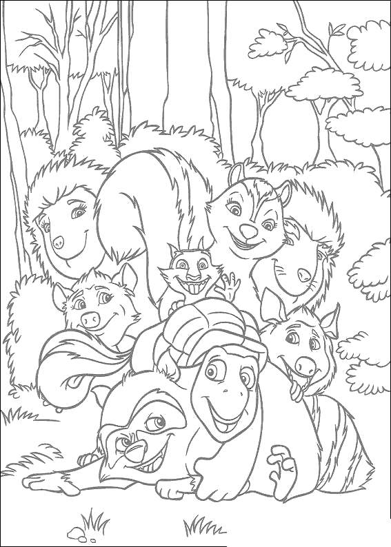 Free Over The Hedge Coloring Pages Friends Black and White printable