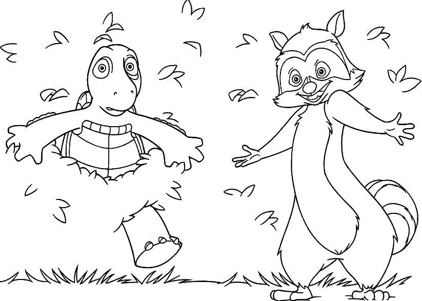 Free Over The Hedge Coloring Pages RJ and Turtle printable