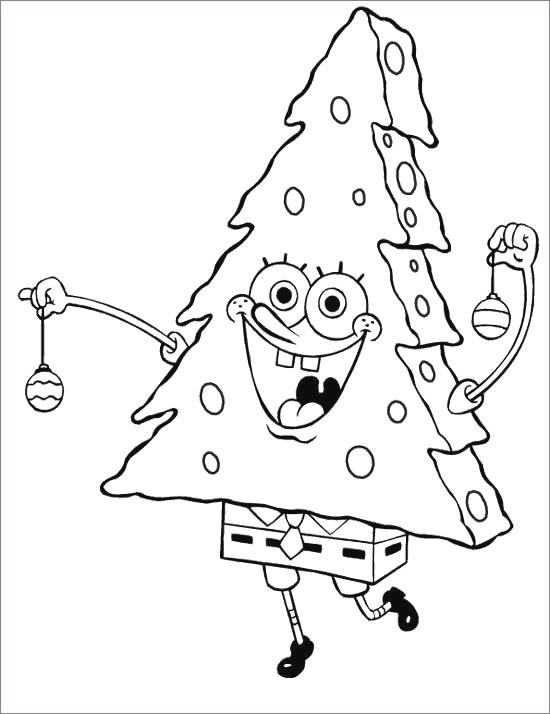 Free Squidward Coloring Pages Christmas Tree printable