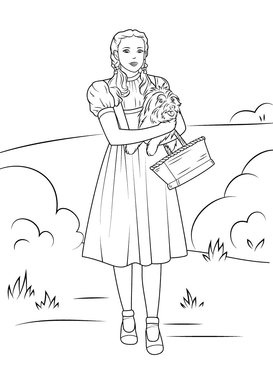 Wizard Of Oz Coloring Pages Dorothy With A Basket And Her ...
