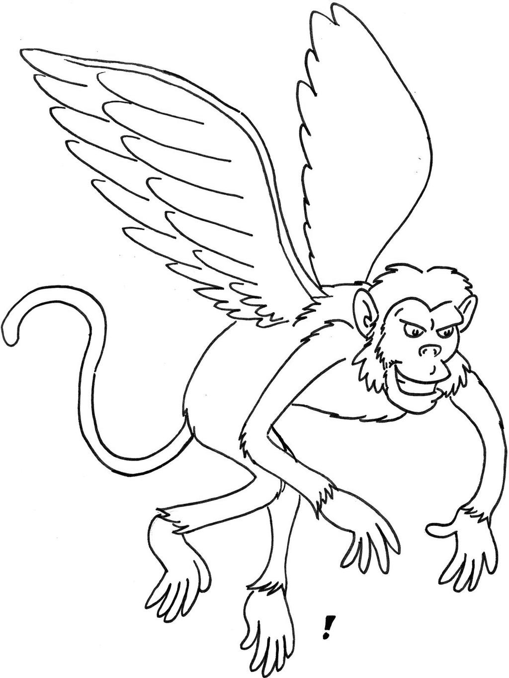 Free Wizard Of Oz Coloring Pages Flying Monkey printable