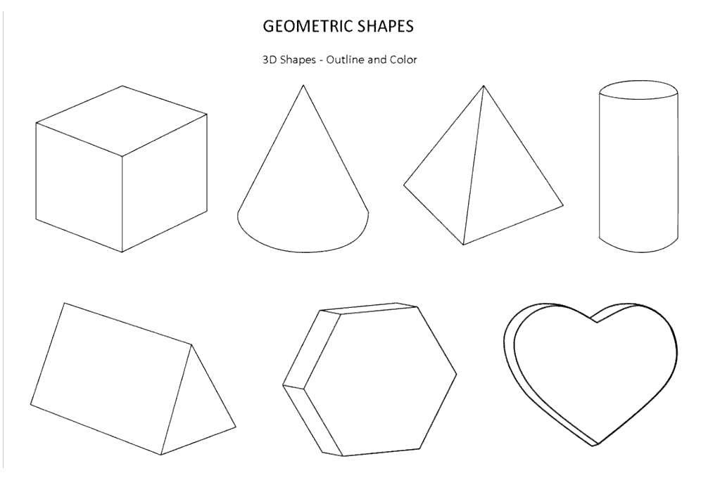 Free 3D Geometric Shapes Coloring Pages printable