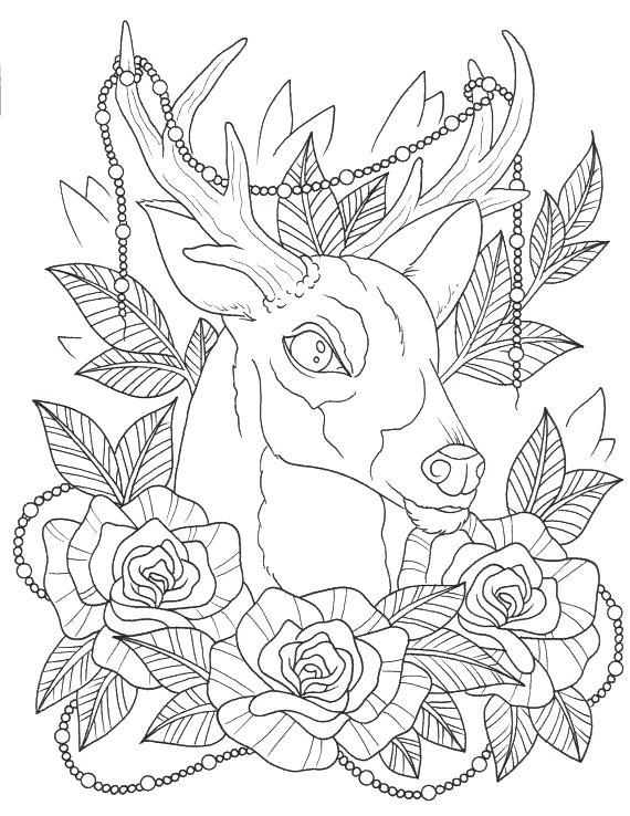 Free Aesthetic Coloring Pages Deer With Flowers printable