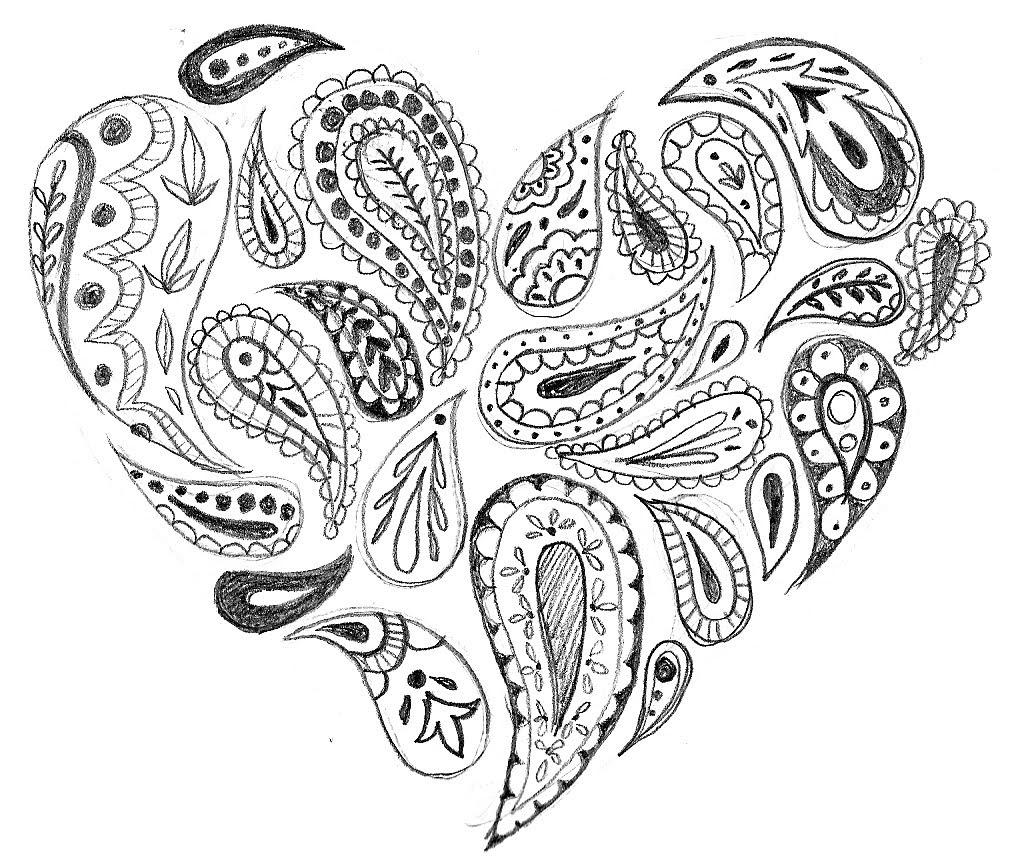 Free Aesthetic Coloring Pages Heart Paisley printable