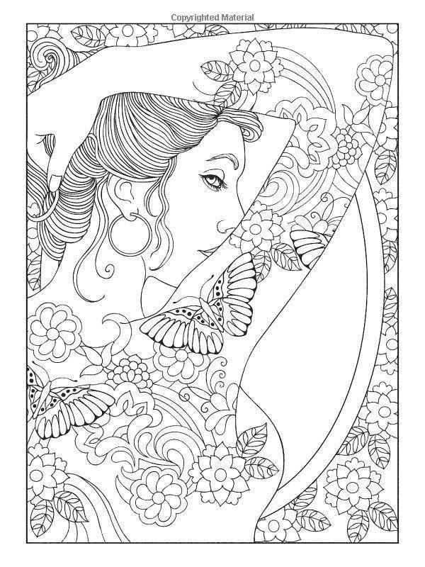 Free Beautiful Girl Aesthetic Coloring Pages printable